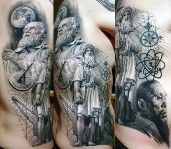 Gentleman With Rib Cage Side And Back 3d Socrates Tattoo