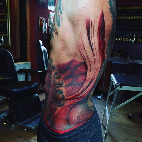 Gentleman With Rib Cage Side Muscle Tattoo