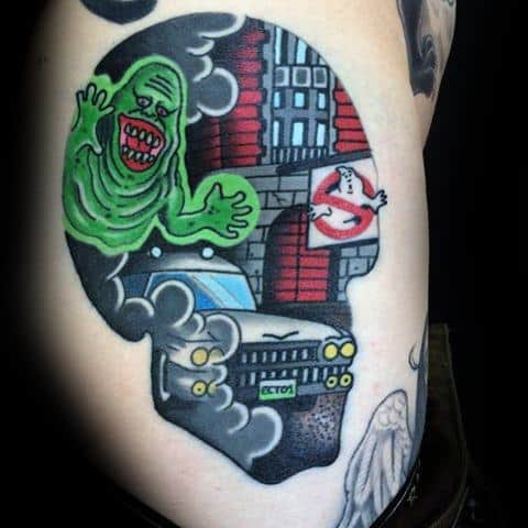 Gentleman With Rib Cage Side Old School Traditional Ghostbusters Tattoo