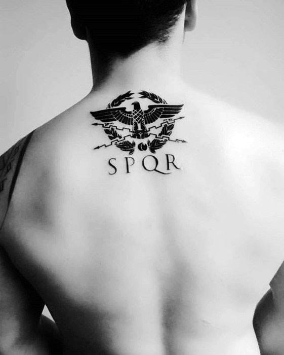Gentleman With Roman Spqr Upper Back Tattoo