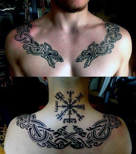 Gentleman With Rune Chest And Back Tattoos
