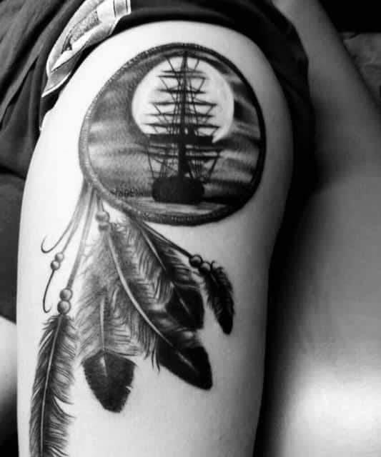 Gentleman With Sailing Ship At Night Dreamcatcher Upper Arm Tattoo