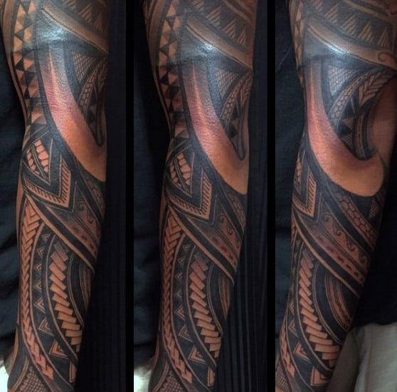 Gentleman With Samoan Tribal Full Arm Sleeve Tattoo Design
