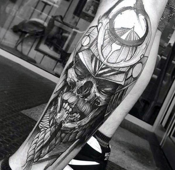 Gentleman With Samuari Helmet Skull Sweet Shaded Leg Tattoo
