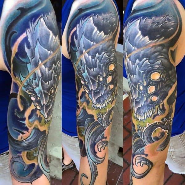 Gentleman With Sea Monster Kraken Half Sleeve Tattoo Ideas