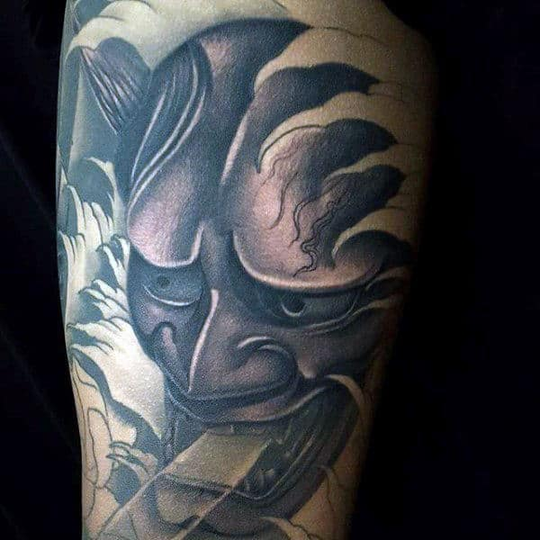 Gentleman With Shaded Arm Tattoo Of Grey And Black Hannya Mask