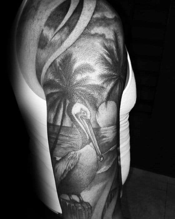 Gentleman With Shaded Black And Grey Ink Half Sleeve Pelican Tattoo