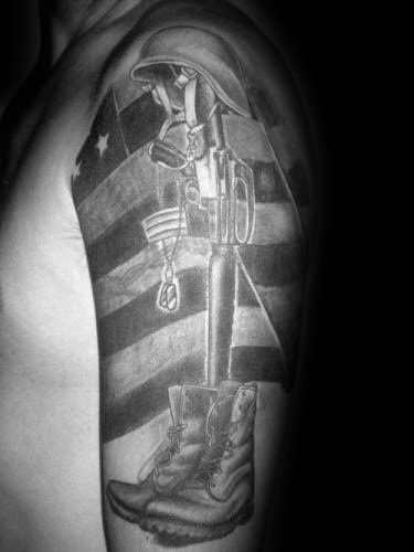Gentleman With Shaded Memorial Army Fallen Soldier Half Sleeve Tattoo