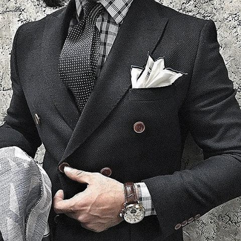 Gentleman With Sharp Black Suit Style And Pocket Square