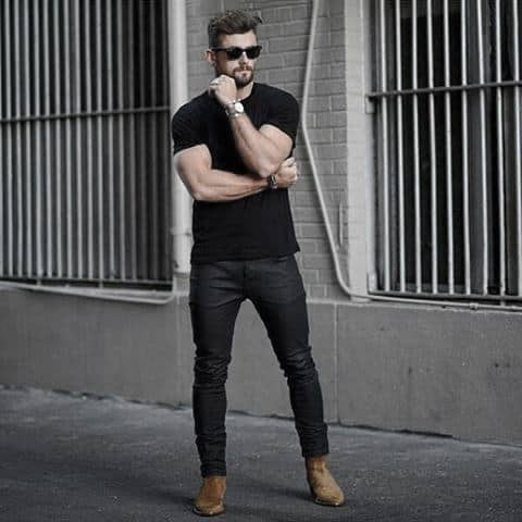 Gentleman With Sharp Casual Wear Style Black Shirt With Black Jeans
