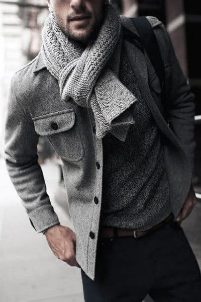 Gentleman With Sharp Fall Outfits Style Grey Color