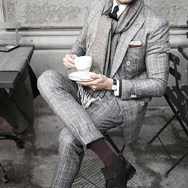 Gentleman With Sharp Grey Suit Style