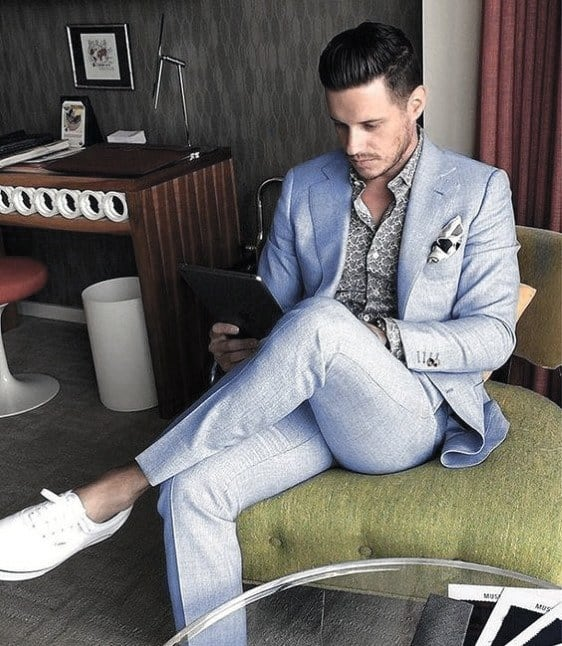 Gentleman With Sharp How To Wear A Light Blue Suit Without A Tie Outfits