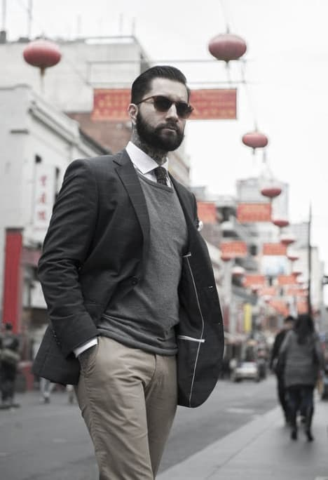 Gentleman With Sharp Khaki Pants What To Wear With Outfits Style Grey Blazer