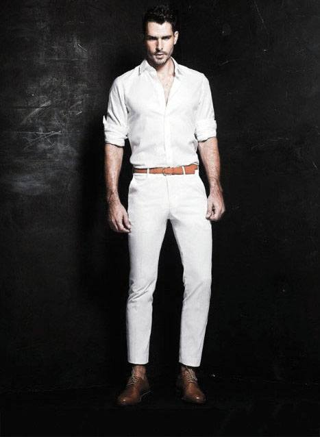Gentleman With Sharp Stylish Blazer Pants All White Outfit