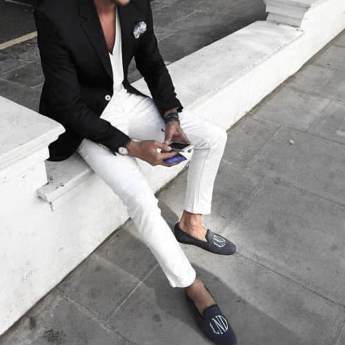 Gentleman With Sharp White Jeans What To Wear With Blazer Outfits