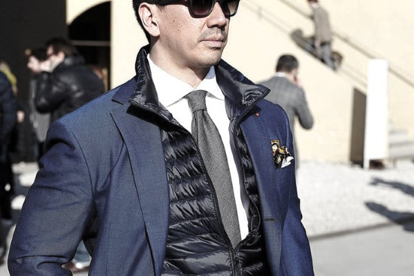 Gentleman With Sharp Winter Outfits Style Grey Tie With Blue Blazer