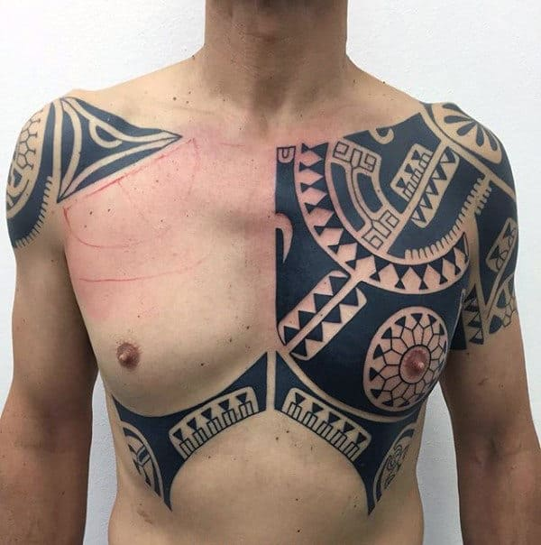 Gentleman With Shoulder Tribal Tattoo