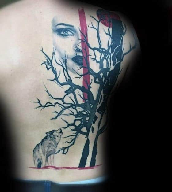 Gentleman With Sick Wolf Tattoo On Back