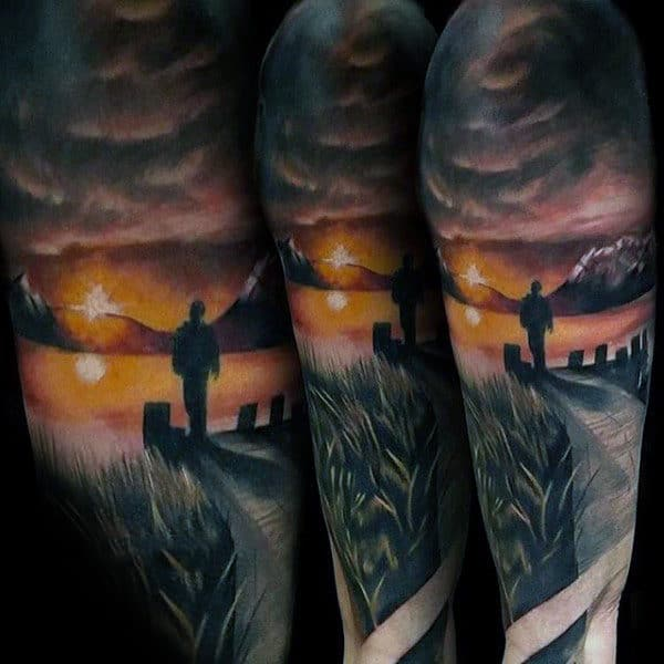 Gentleman With Silhouette Landscape Half Sleeve Tattoos