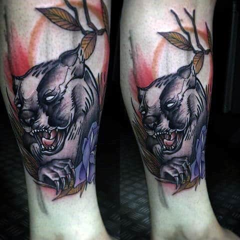 Gentleman With Sketched Honey Badger Lower Leg Tattoo Design