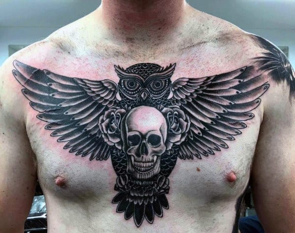 Gentleman With Skull And Owl Upper Chest Tattoo Designs