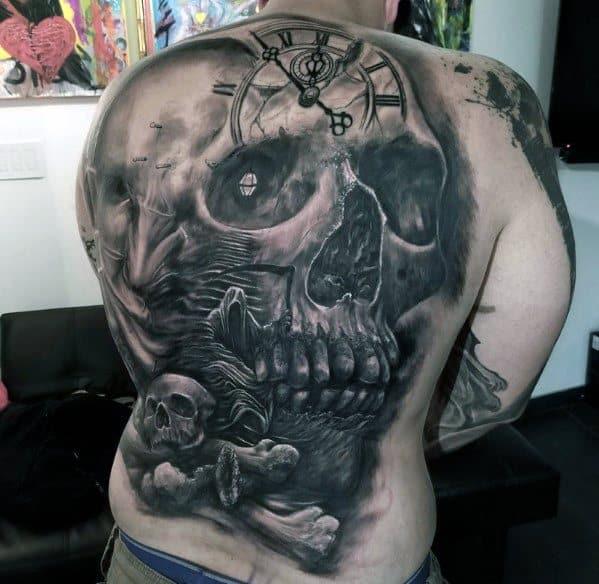 Gentleman With Skull Back Tattoo