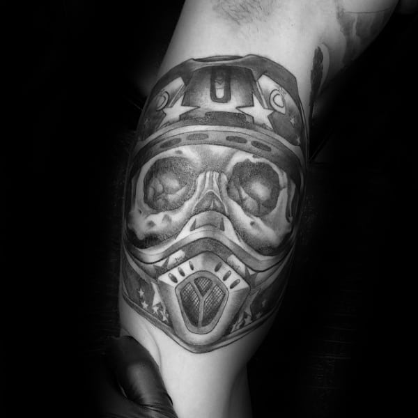 Gentleman With Skull Motocross Helmet Mx Tattoo On Arm