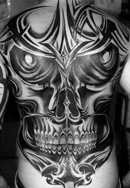 Gentleman With Skull Tribal Sick Full Back Tattoo