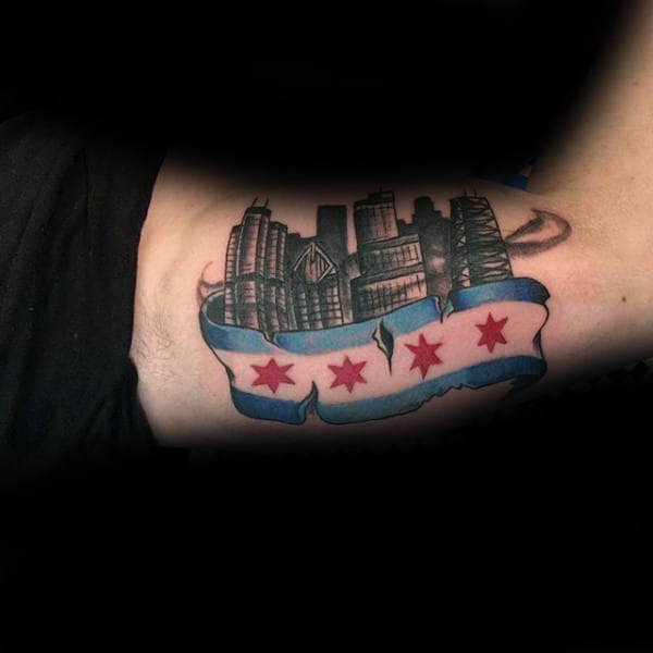Gentleman With Skyline And Chicago Flag Tattoo On Inner Arms
