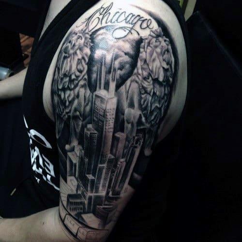 Gentleman With Skyline Chicago Half Sleeve Tattoos