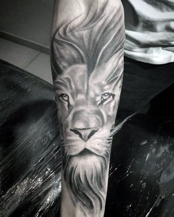 Gentleman With Sleeve Lion Shaded Grey Ink Tattoo