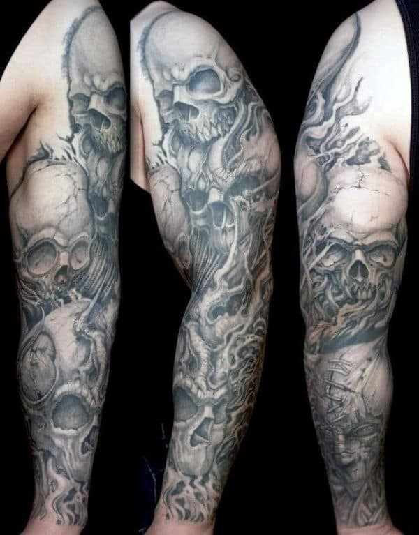 Gentleman With Sleeve Skull Tattoos