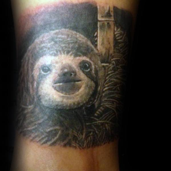 Gentleman With Sloth In The Woods Quarter Sleeve Tattoo