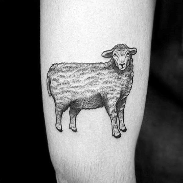 Gentleman With Small Thigh Sheep Tattoo