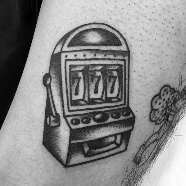 Gentleman With Small Traditional Black Ink Arm Slot Machine Tattoo