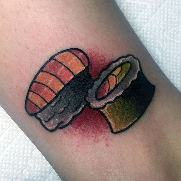 Gentleman With Small Traditional Old School Leg Sushi Tattoo