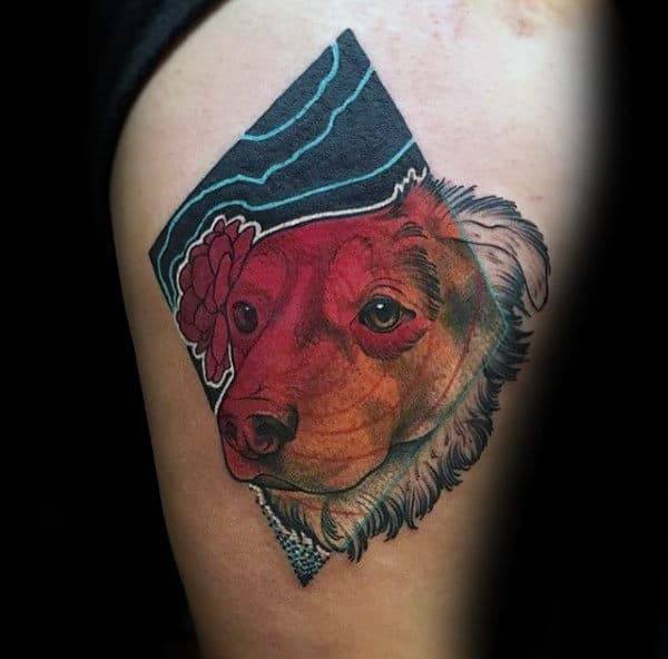 Gentleman With Small Unique Dog Thigh Tattoo