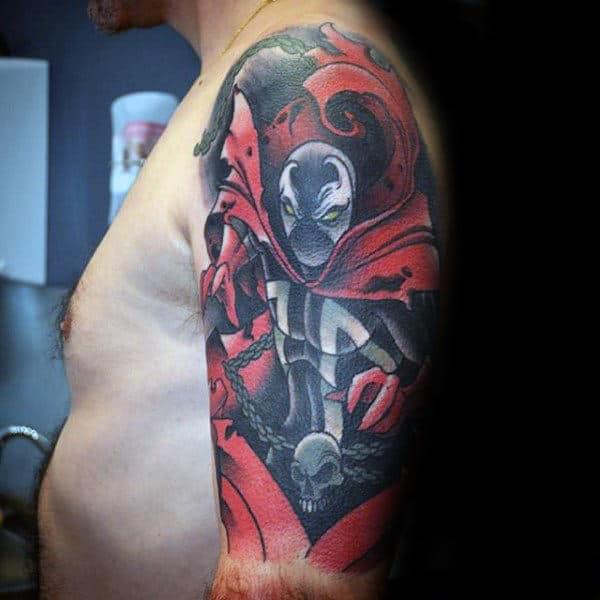 Gentleman With Spawn Half Sleeve Tattoo