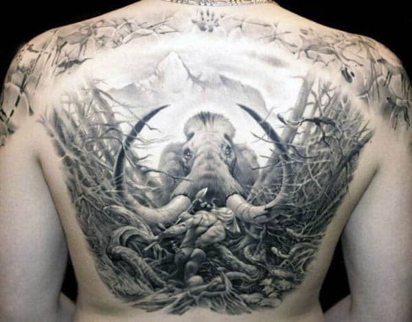 Gentleman With Spear Mammoth Back Tattoo