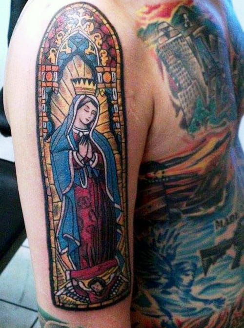 Gentleman With Stained Glass Religious Arm Tattoo