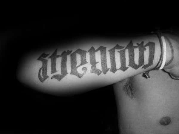 Gentleman With Strength Old School Word Font Tattoo