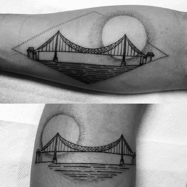 Gentleman With Sun Dotwork Bridge Forearm Tattoo