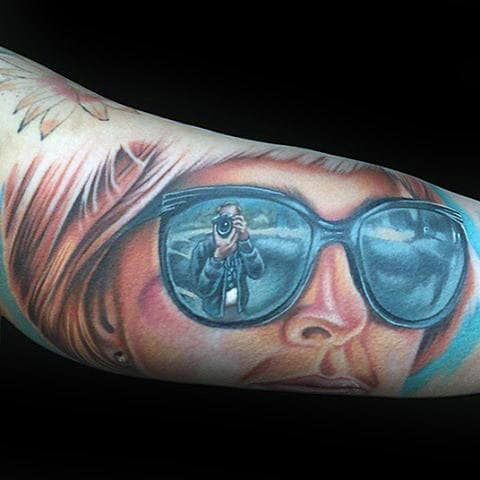 Gentleman With Sunglasses Reflection Memorial Tattoo
