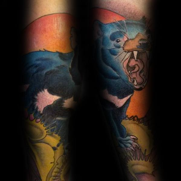Gentleman With Tasmanian Devil Tattoo Forearm Sleeve