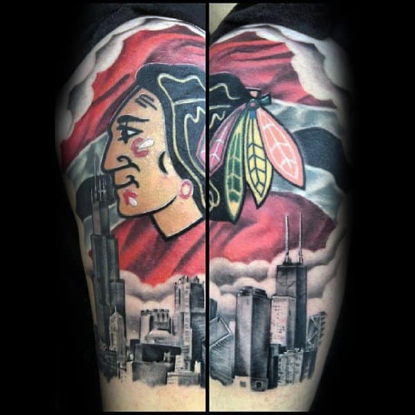 40 chicago blackhawks tattoo designs for men hockey ink