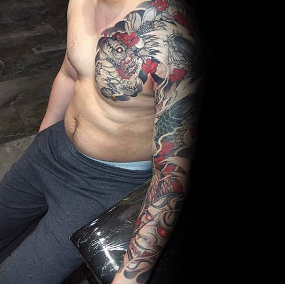 Gentleman With Tattoo Of Hannya Mask Japanese Design Ideas