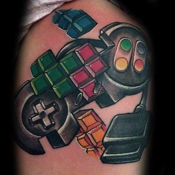 Gentleman With Tetris Tattoo On Upper Arm
