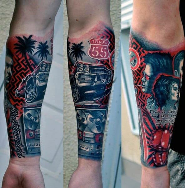 Gentleman With Themed Forearm Sleeve Tattoo Design Above Wrist