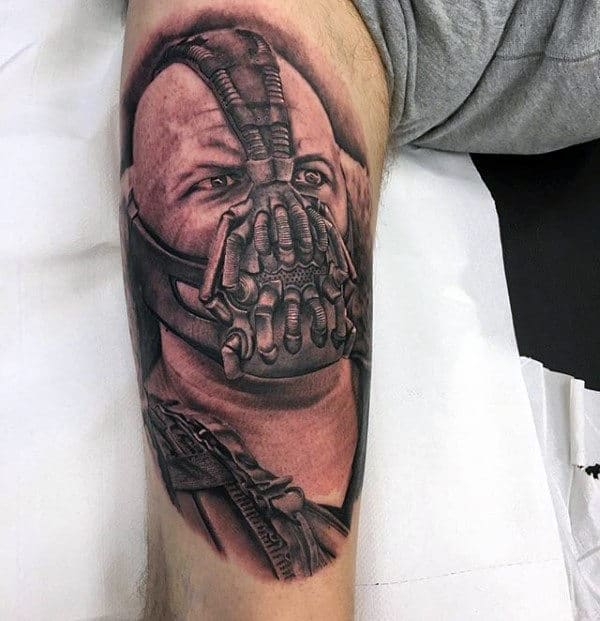 Gentleman With Thigh Tattoo Of Superhero Bane